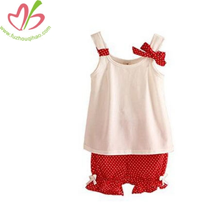 Girls' Short Set Summer Dot 2pcs Outfit
