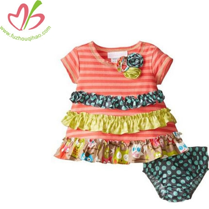 Baby Girls Ruffle Coral Stripe to Mix Print Tiers Knit Dress+Bottom