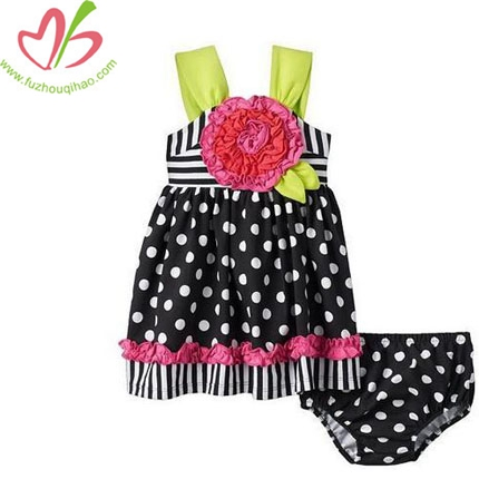 Baby Girl Large Single Flower Dot Dress+Bottom