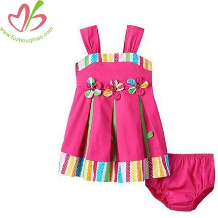 Baby Girl Pink Pleated Flower Dress+Bottom