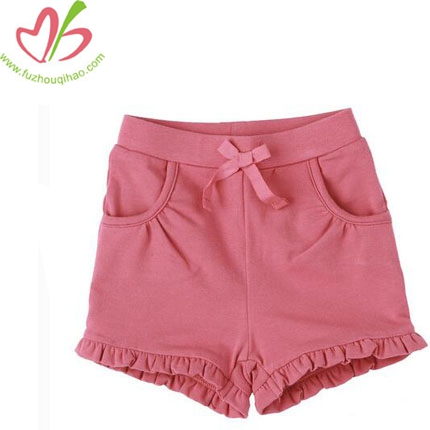 Girl's Summer Solid Pink Cotton Short