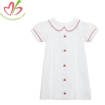 Girl's White Color Embroidered Cherry Dress