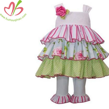 Girls 2 Pc Set Tiered Floral Print Top Ruffled Pants