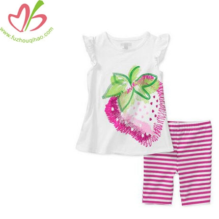 Girls Summer Printing Flower Top + Capri Pants Set