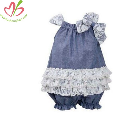 Baby Girls Blue Jean Lace Ruffle Spring Summer Bubble Dress