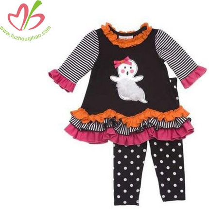 Girls Black Applique Fall Halloween Dress Outfit