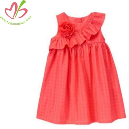Summer Girls Coral Color Ruffle Dress