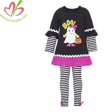 Girls Black Pumpkin Fall Halloween Dress Outfit