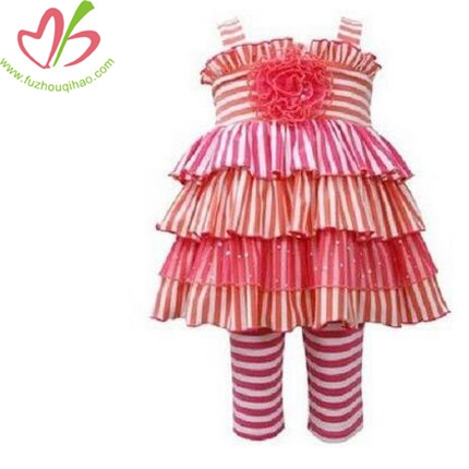 Girls Stripe Tiered Mixed Rosette Spring Summer Dress & Leggings