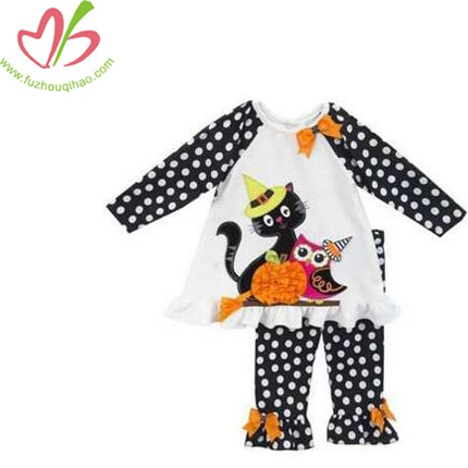 Girls Black White Cat Owl Halloween School Fall Dress Outfit