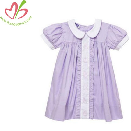 Girl's Cotton Knit Purple Short Sleeve Top