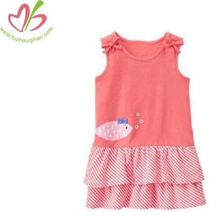 Girl's Knit Pink Ruffle Tank Dress Top