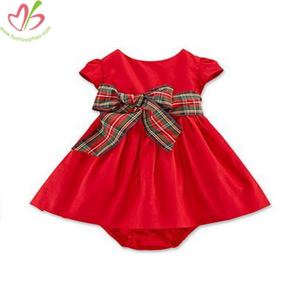 Red Baby Girl's Dress Romper