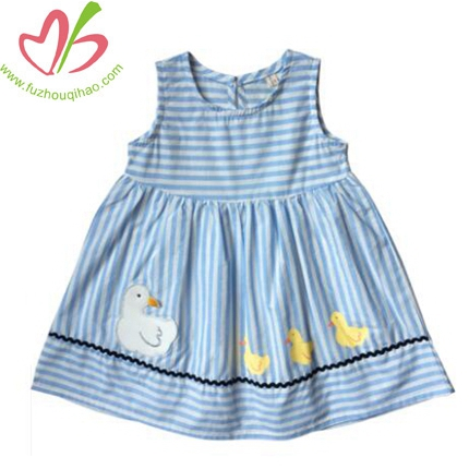 Girls Vest Dress Cute Ducks Cloth Embroidered Dress
