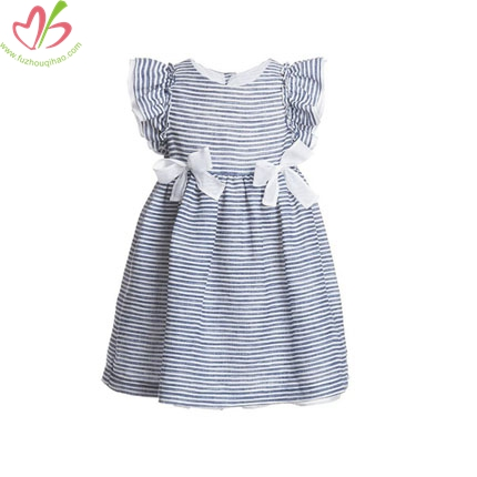 Blue Stripe Flutter Sleeves Girl's Dress