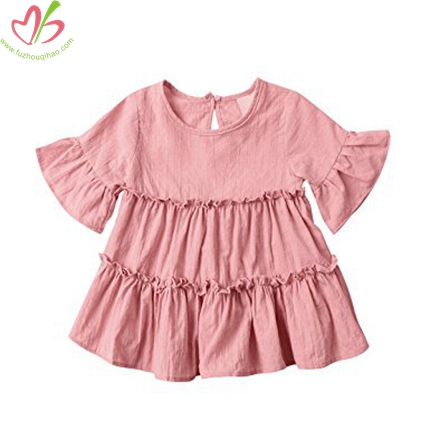 Pink Half Sleeves Girl's Blouse