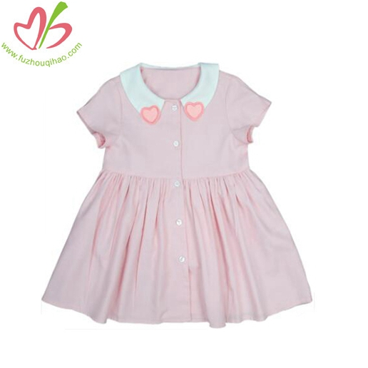 Children Love Neckline Cotton Pink Dress With Short Sleeves
