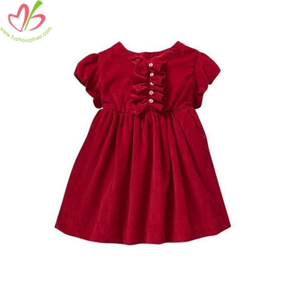 Red Corduroy Kids Girl's Dress