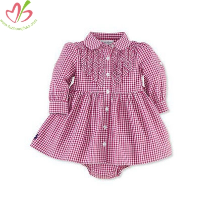 Hot Pink Gingham Long Sleeves Girl's Shirt Romper