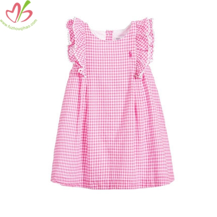 Pink Gingham One Pc Dress with Lining for Children