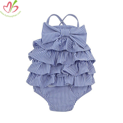 Blue Stripe Children One Pc Swimming Suits