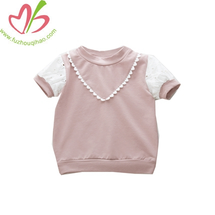 Baby Girls Pink T-shirt In The Summer Of Hollow Sleeve Blouse