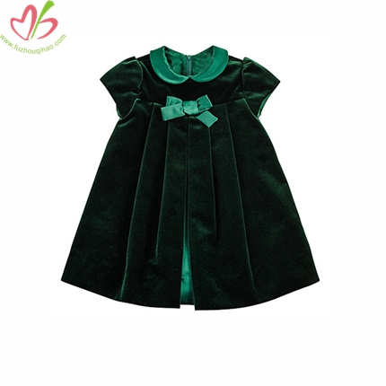 Short Sleeves Baby Velet Dress