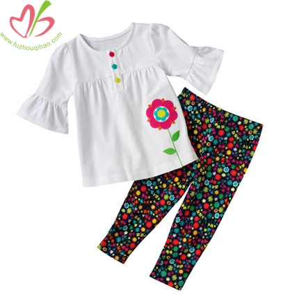 3/4 Sleeves Children Blouse with Legging Set