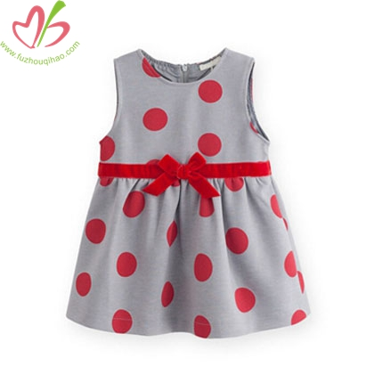 Sleeveless Polkadot Printed Kids Dress