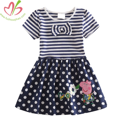 Navy Cotton/Spandex Children Dress
