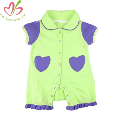 Lime Cotton Baby Girl's Romper