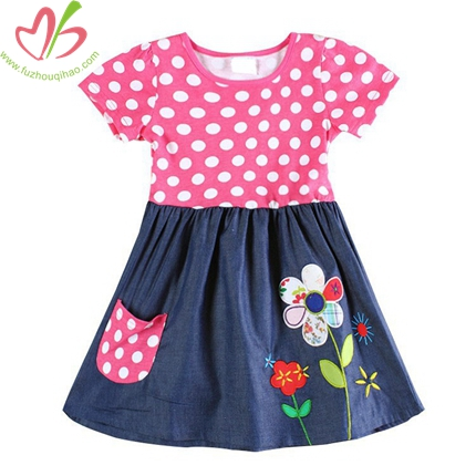 Baby Girl's Polkadot Demin Dress