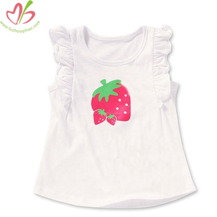 Strawberry Printing Flutter Sleeves Children Top