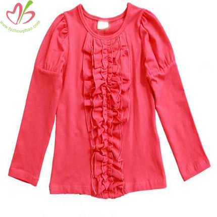 Coral Ruffled Kids Tshirt