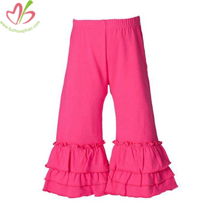 Solid Color Triple Ruffle Pants for Children