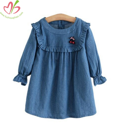 Puff Sleeves Demin Dress for Children