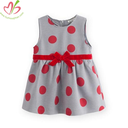 Sleeveless Polkadot Woven Dress with Lining for Baby