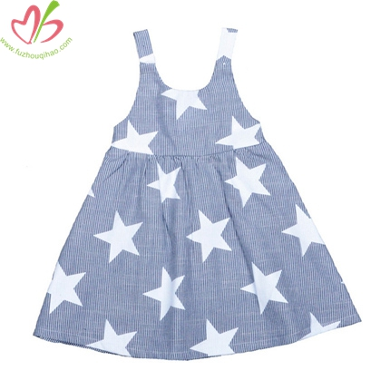 Star Printed Woven Kids Dress