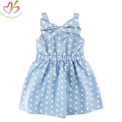 Polkadot Printed Bow Blue Children Girl's Dress
