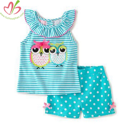 Owl Applique Ruffle Neck Baby Top with Short