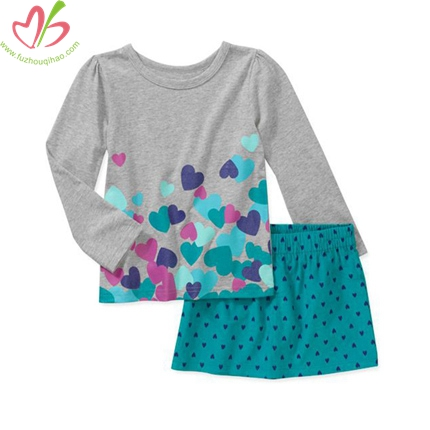 Long Sleeves Children Blouse with Skirt