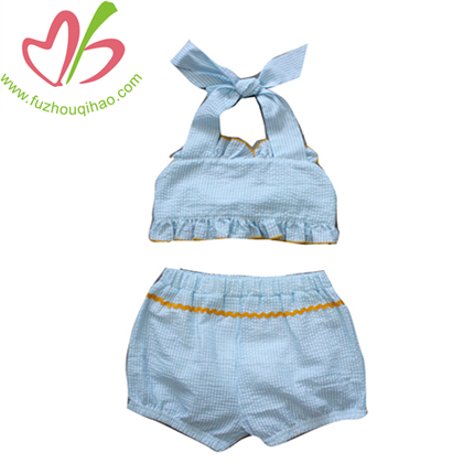 Blue Seersucker 2pcs swimsuits sets